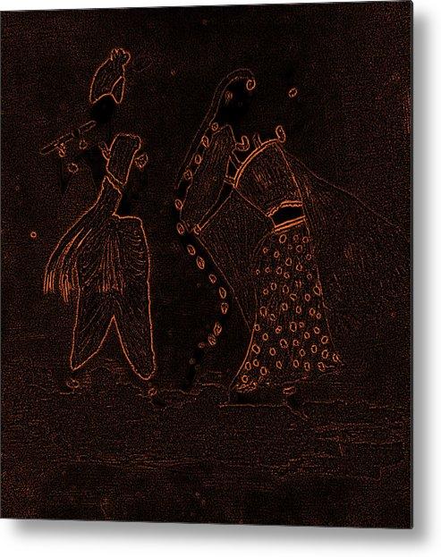 Radha Metal Print featuring the painting Radha Krishna Dancing by Pratyasha Nithin