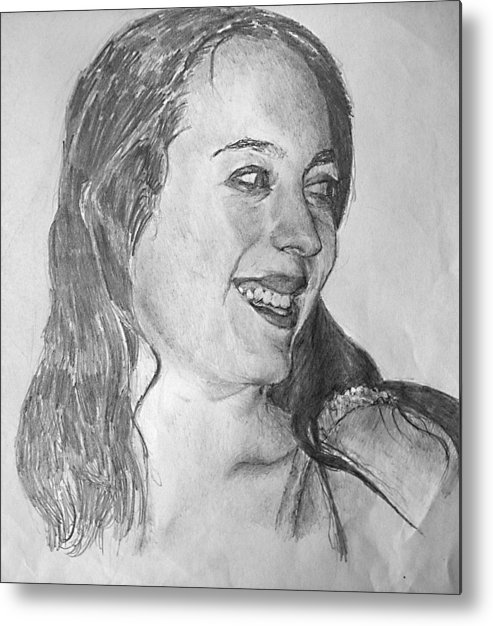 Portrait Drawing On Paper Metal Print featuring the drawing portrait of Angela by Alfie Frohman