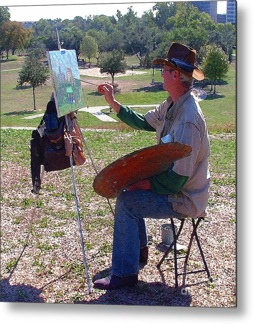 Outdoor Painting Metal Print featuring the photograph Scenery Artist by Fred Jinkins