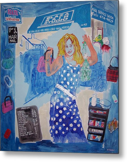 Female Portrait Of Salon Worker Metal Print featuring the painting Rita Of Plaza Hair by Nina Talbot