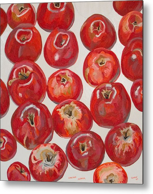 Apple Metal Print featuring the painting Beautiful Red Apples by Vitali Komarov