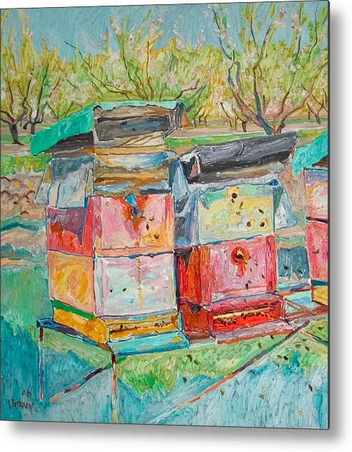 Landscape Metal Print featuring the painting Beehives In Orchard by Vitali Komarov