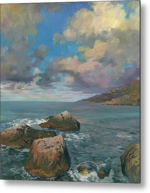 The Crimea Metal Print featuring the painting Cape Sarich by Denis Chernov