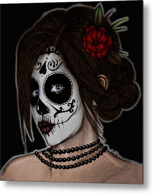 Dia De Los Meurtos Metal Print featuring the drawing Dia De Los Meurtos by Angela Conway
