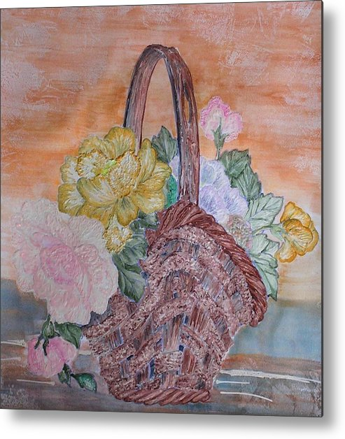 Floral Metal Print featuring the painting Floral Basket by John Vandebrooke