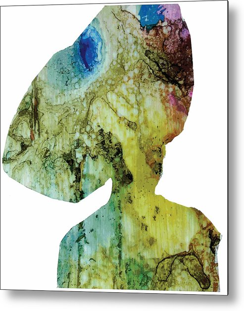 Green Metal Print featuring the digital art Iya Wearing Igele by Mojisola Ogunmuko