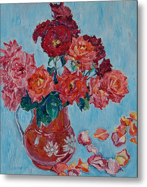 Roses Metal Print featuring the painting Jjug With Red Roses by Vitali Komarov