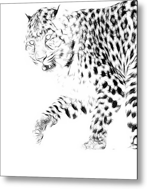Leopard Metal Print featuring the photograph Leopard Spots Black And White by Steve McKinzie