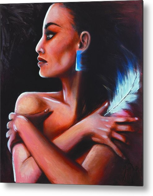 Native American Metal Print featuring the painting Little Eagle by Elizabeth Silk