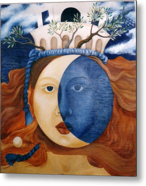 Faces Metal Print featuring the painting Moon Face by Amrei Al-Tobaishi-Jarosch