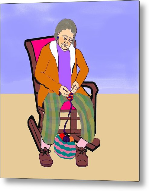 Grandmother Metal Print featuring the digital art Nana Knitting by Pharris Art
