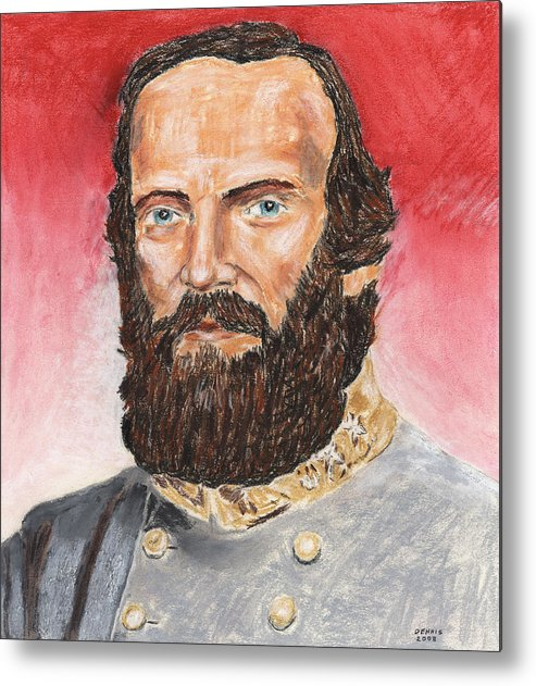 Military Metal Print featuring the pastel Stonewall Jackson by Dennis Larson