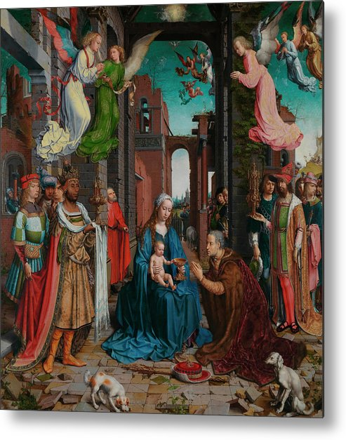 Adoration Of The Kings Metal Print featuring the painting The Adoration Of The Kings by Jean Gossart