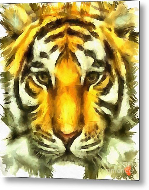Tiger Painted Metal Print featuring the painting Tiger Painted by Catherine Lott