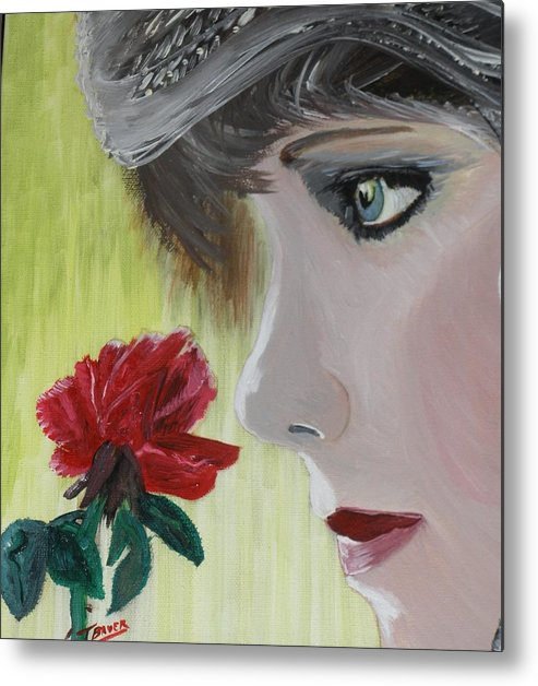 Romance Metal Print featuring the painting Wedding Rose by J Bauer