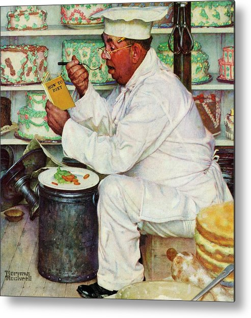 Bakers Metal Print featuring the drawing How To Diet by Norman Rockwell