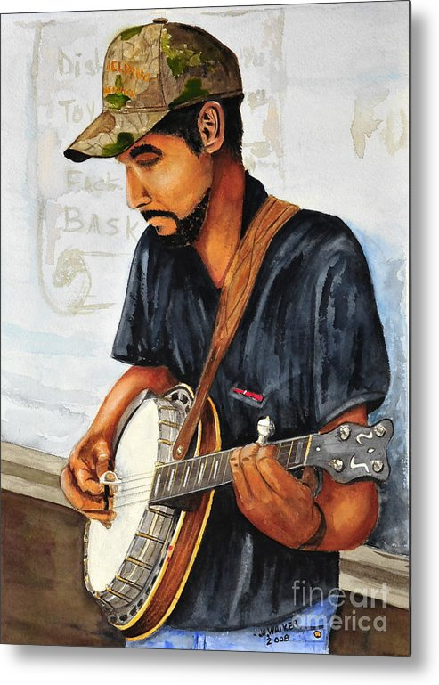Banjo Metal Print featuring the painting Banjo Player by John W Walker