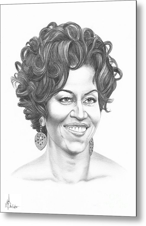 Portrait Metal Print featuring the drawing Michelle Obama by Murphy Elliott