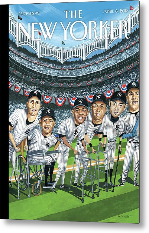 Yankees Metal Print featuring the painting New Yorker April 8th, 2013 by Mark Ulriksen