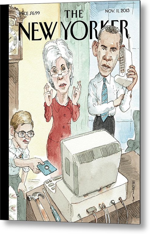 Healthcare Metal Print featuring the painting New Yorker November 11th, 2013 by Barry Blitt