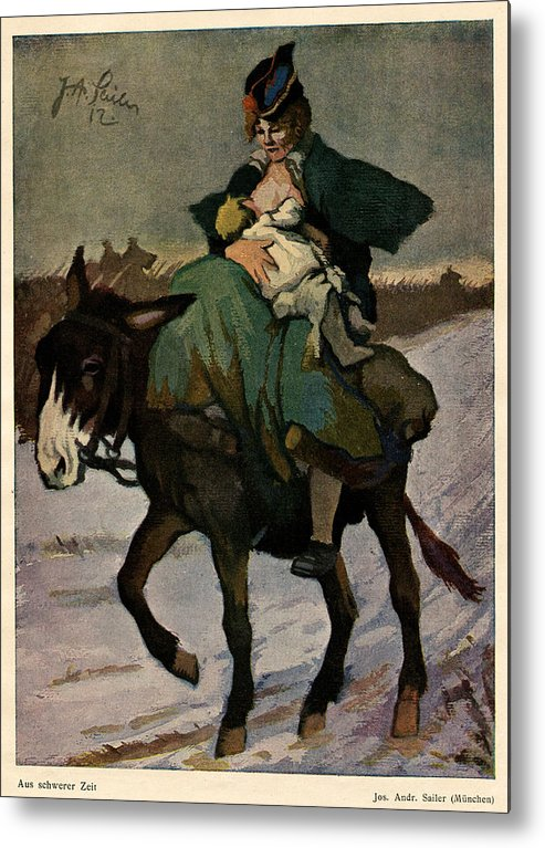 Art Nouveau Metal Print featuring the digital art 1913 Jugend Art Print Woman Riding Dunkey Suckling Baby Hard Tim by Josef A Sailer