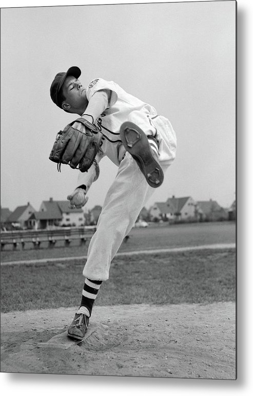 Photography Metal Print featuring the photograph 1950s Teen In Baseball Uniform Winding by Vintage Images
