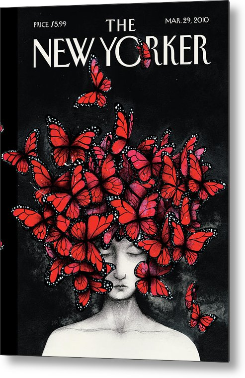 Butterflies Metal Print featuring the painting New Yorker March 29th, 2010 by Ana Juan