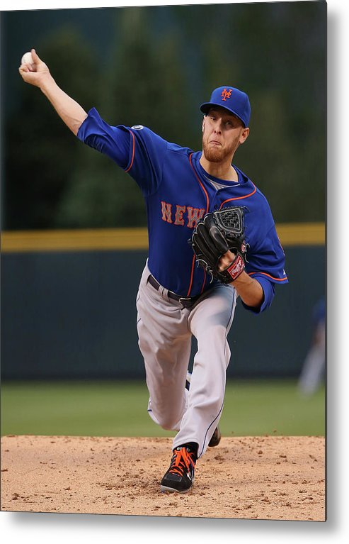 Baseball Pitcher Metal Print featuring the photograph New York Mets V Colorado Rockies by Doug Pensinger