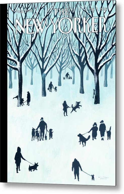 Snow Metal Print featuring the painting A Walk In The Snow by Mark Ulriksen