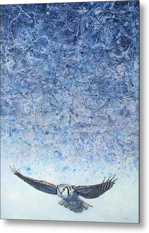 Owl Metal Print featuring the painting Ahead Of The Storm by James W Johnson