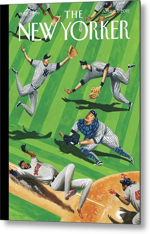 Yankees Metal Print featuring the painting Baseball Ballet by Mark Ulriksen