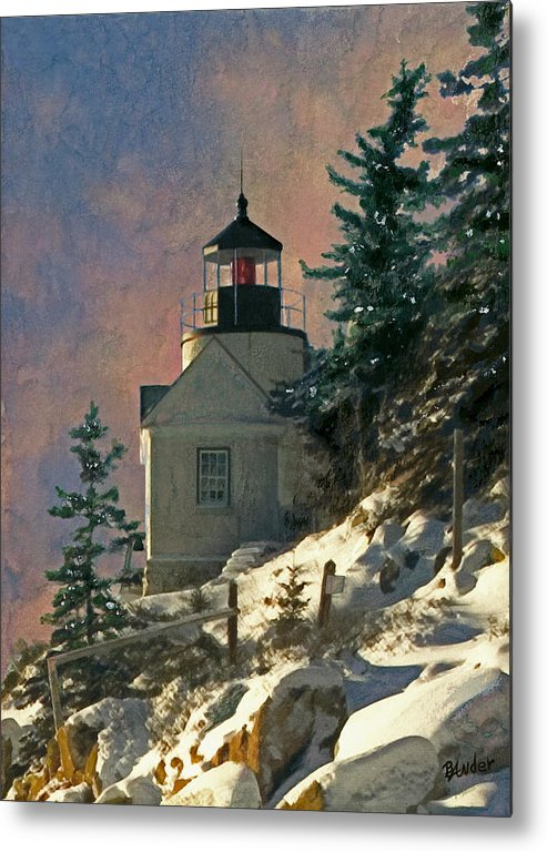 Bass Harbor Metal Print featuring the painting Bass Harbor Light In A Winter Storm by Brent Ander