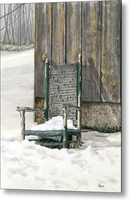 Chair Metal Print featuring the painting Better Days - Winter by Ted Head