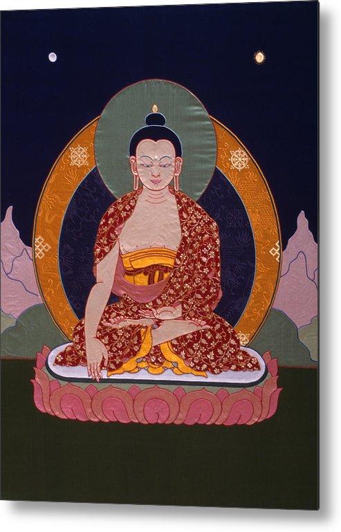 Buddha Metal Print featuring the tapestry - textile Buddha Shakyamuni by Leslie Rinchen-Wongmo