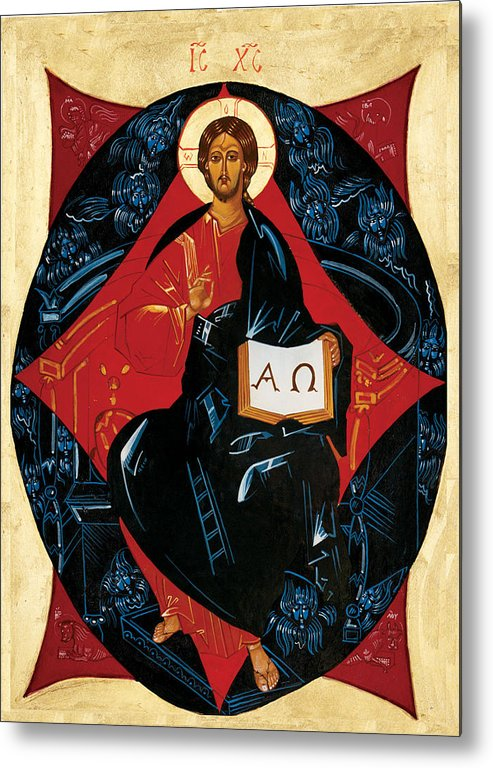 Russian Icon Metal Print featuring the painting Christ In Majesty by Joseph Malham