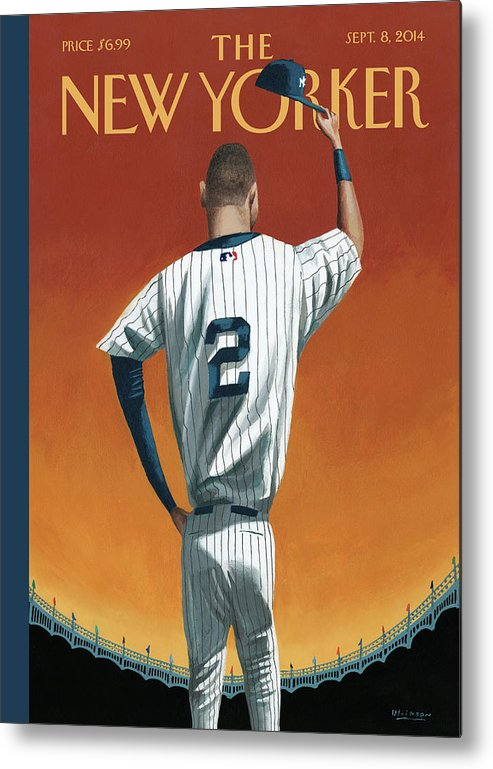 Retirement Metal Print featuring the painting Derek Jeter Bows Out by Mark Ulriksen