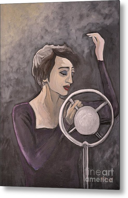 Edith Piaf Metal Print featuring the painting Edith Piaf by Reb Frost