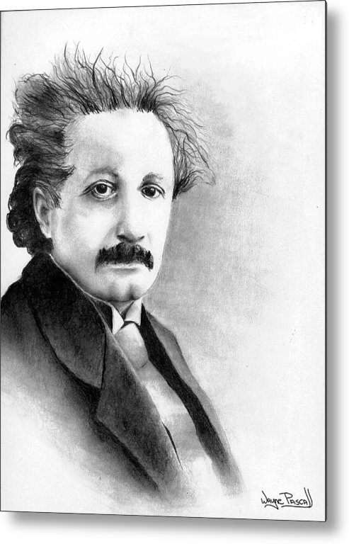 Einstein Metal Print featuring the drawing Einstein by Wayne Pascall