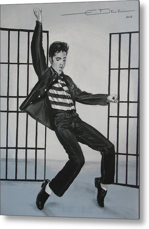Elvis Presley Metal Print featuring the painting Elvis Presley Jailhouse Rock by Eric Dee