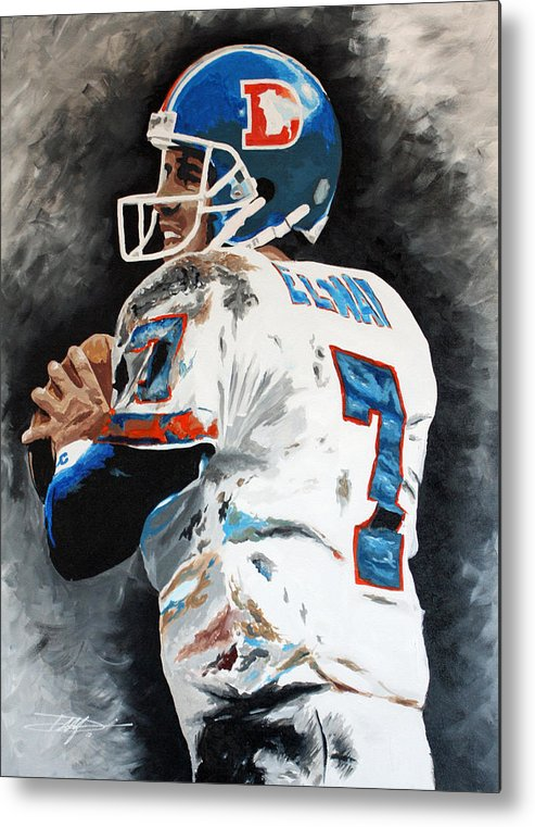 Elway Metal Print featuring the drawing Elway by Don Medina