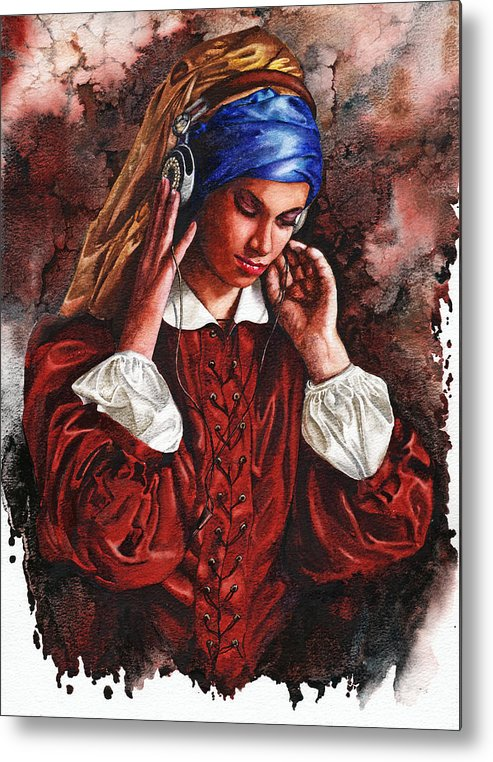 Girl Metal Print featuring the painting Girl With The Poor Hearing by Peter Williams