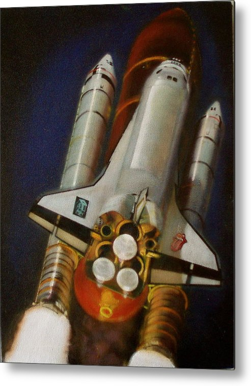 Space Shuttle;launch;liftoff;blastoff;rockets;engines;astronauts;spaceart;nasa;photorealism Metal Print featuring the painting God Plays Dice by Sean Connolly