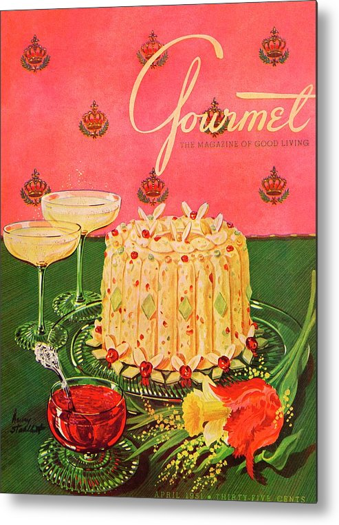 Illustration Metal Print featuring the photograph Gourmet Cover Illustration Of A Molded Rice by Henry Stahlhut