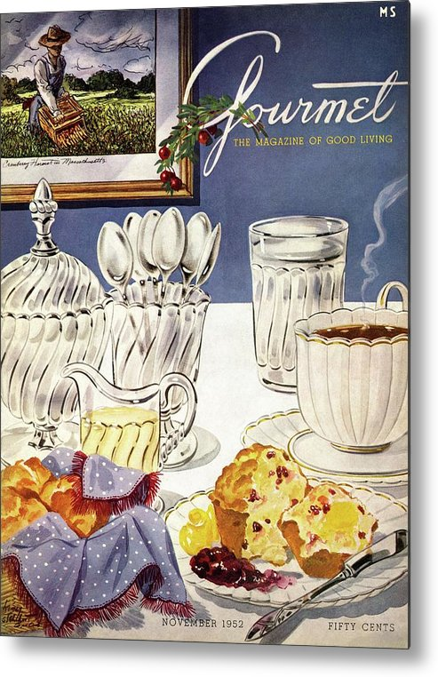 Food Metal Print featuring the photograph Gourmet Cover Illustration Of Cranberry Muffins by Henry Stahlhut