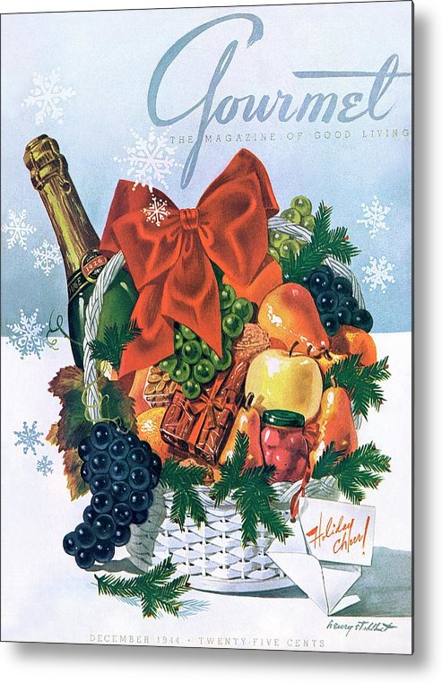 Food Metal Print featuring the photograph Gourmet Cover Illustration Of Holiday Fruit Basket by Henry Stahlhut