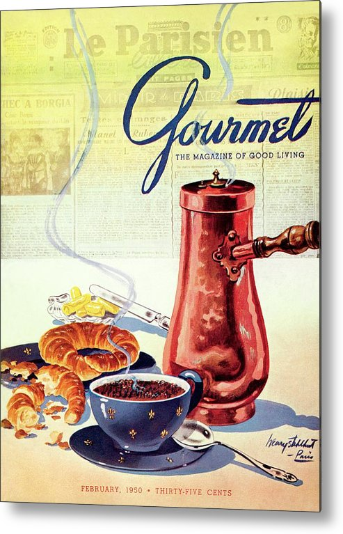 Food Metal Print featuring the photograph Gourmet Cover Of A French Breakfast by Henry Stahlhut