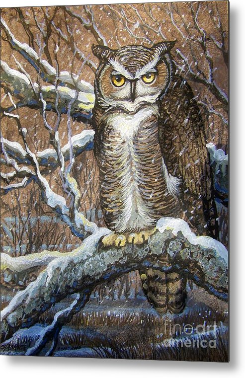 Chabrier Metal Print featuring the painting Great Horned Owl Another Storm by Anne Shoemaker-Magdaleno