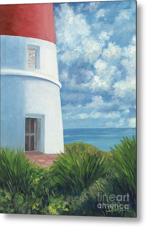 Seascape Metal Print featuring the painting Gun Cay Lighthouse by Danielle Perry