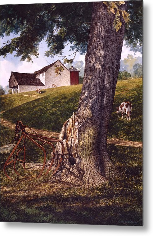 Landscape Metal Print featuring the painting Hay Fork by Tom Wooldridge