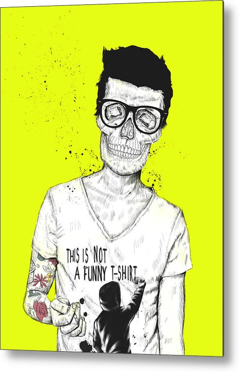 Skull Metal Print featuring the drawing Hipsters Not Dead by Balazs Solti